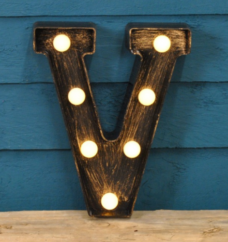 Letter V- Battery Operated Lumiere